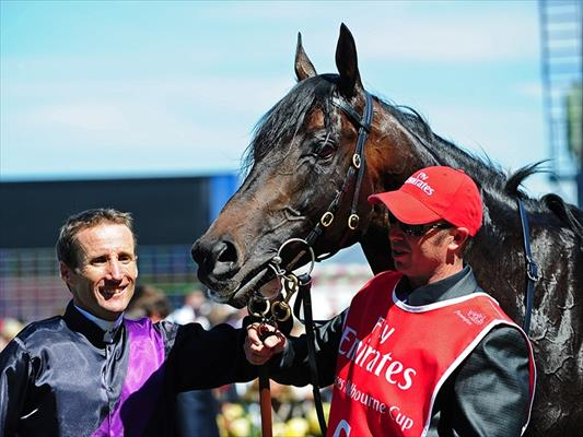 Fiorente with jockey Damien Oliver and strapper Des Fisher